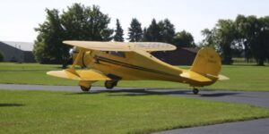 Beech Staggerwing airplane at Brennand Airport
